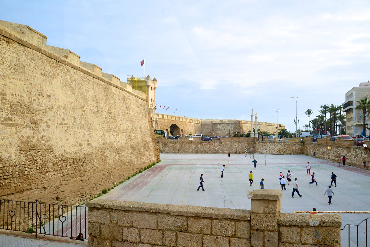 Far Left Is Puerta Tiera Going From New Town into Old Town… Front Left is The Old City Wall and Center Kids Are Playing Soccer.