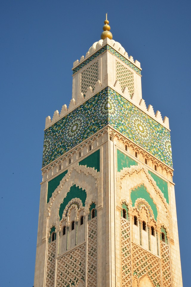 Closer Look at The Mudjar Design On The Minaret Two Laser Beams On Top Reach 18 5 Miles Towards Mecca.
