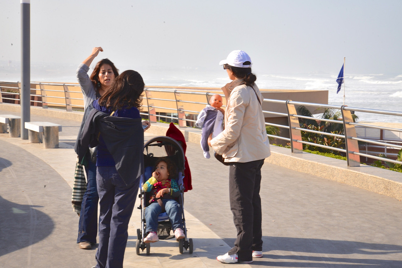 Family on Beach Walkway.