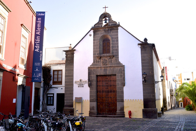 Mix of Old and New… Church Where Columbus Gave Speeches… Tourists' Motocycles.