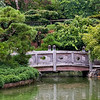 Panoramic view of the bridge on the other side of the pond at the Japanese Hill-and-Pond Garden.