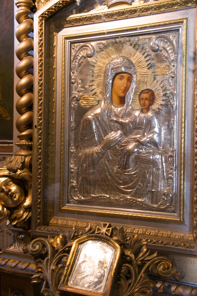 Silver Relief of Madonna and Child…Typical Romanian Christian Orthodox Icon