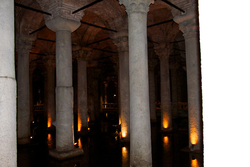 It is 70 meters wide and 140 meters long, with a capacity of 80,000 cum  of water    The cistern is supported by 336 beautiful beautiful columns