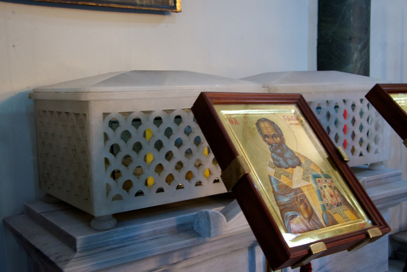 Relic boxes of Saint John Chrysostom and Saint Gregory the Theologian…  Returned to The Church by Pope John Paul after Reconciliation Between Greek Orthodox Church and Catholic Church