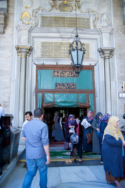 Entrance to Eyup Sultan Mosque…The first major mosque to be built in Istanbul,[citation needed] it was surrounded by a traditional complex including a bath, school, and kitchen