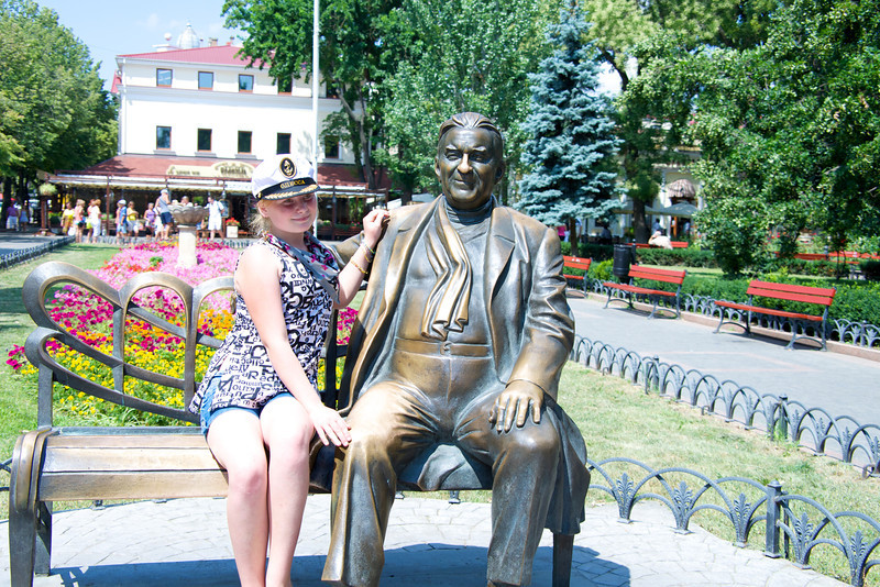 Shiny Areas Are Where People Rubbed The Statue for Good Luck… The Man is Leonid Utesov, King of Soviet Jazz (Soviet Jazz Was Derived From Klezmer Music)