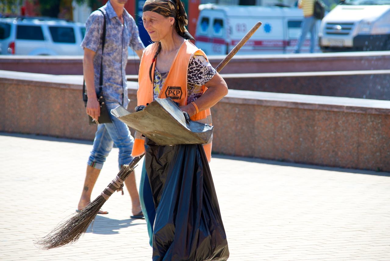 Women Cleaning The Plaza at Odessa Film Festival (check out the broom)