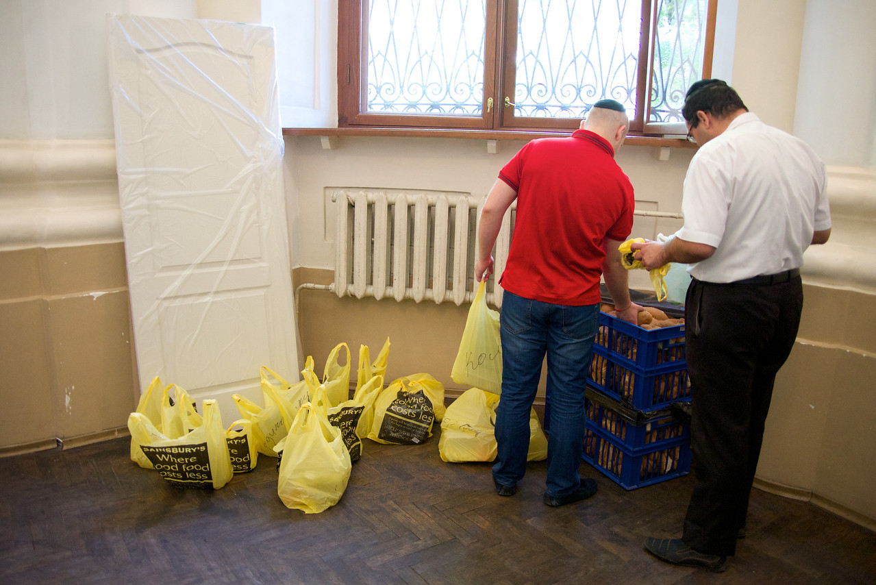 Collecting Food For Shabbat Distribution