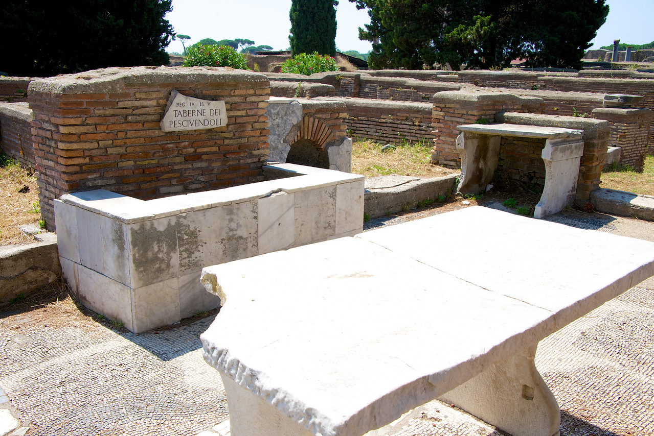 Fish Cooler and Table in Market Area of Ostia