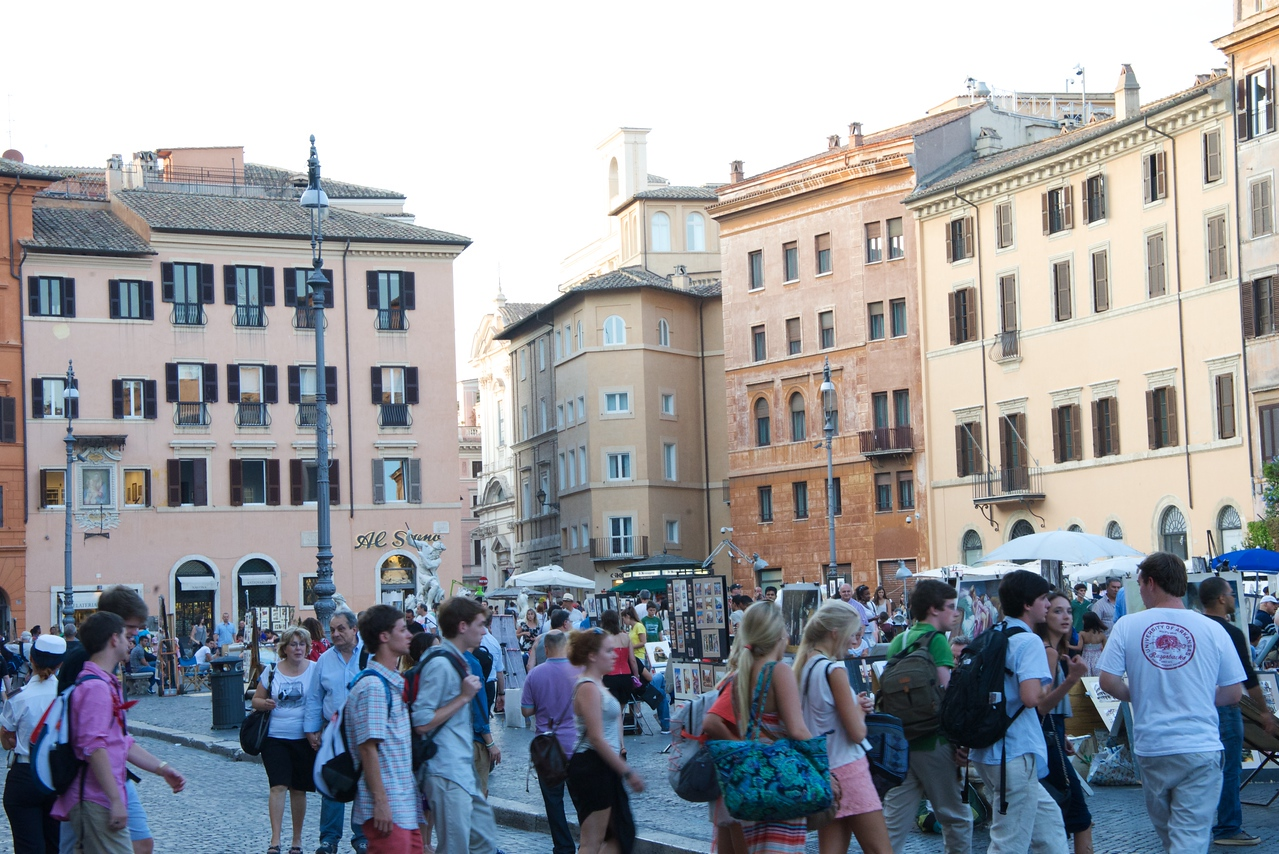 Friday Night Crowd in Piazza Navon