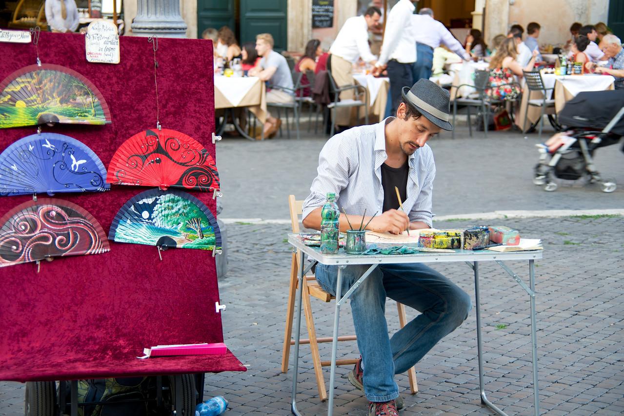 Handpainted Fans in Piazza Navona