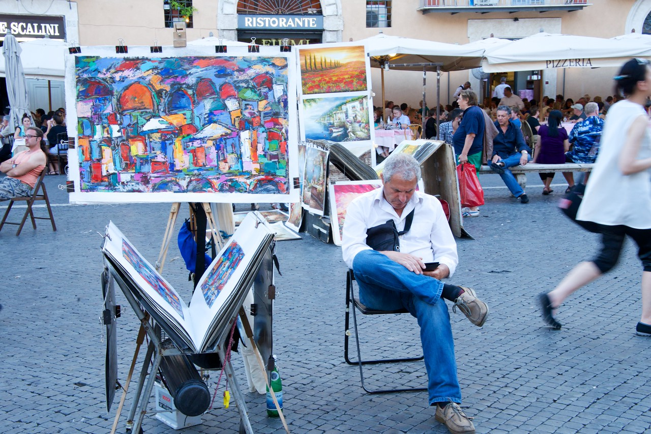 Artist in Piazza Navona Waiting for a Sale