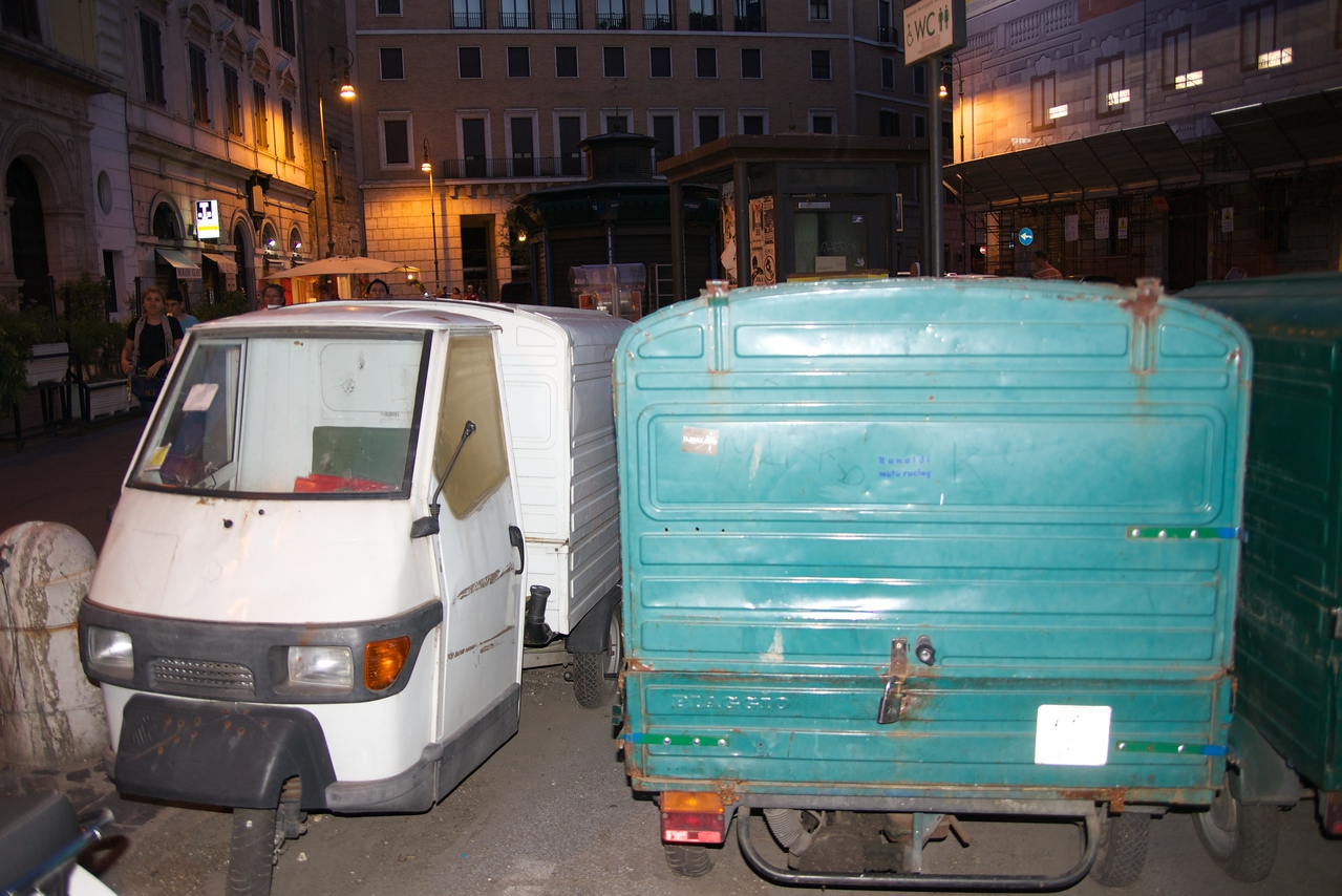 Three Wheel Vehicles Are Only Means of Delivery in Narrow Streets of Rome