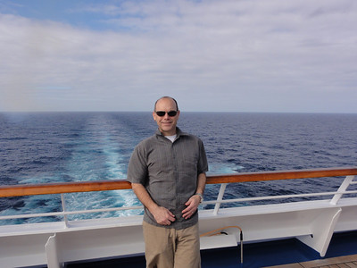 Enjoying the view from the stern of the ship.