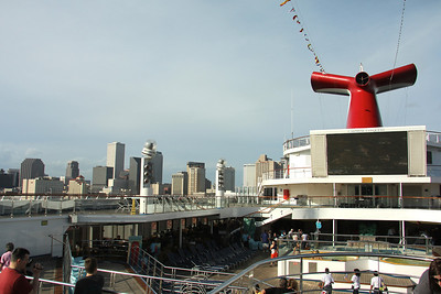On board the Carnival Conquest at the port of New Orleans.