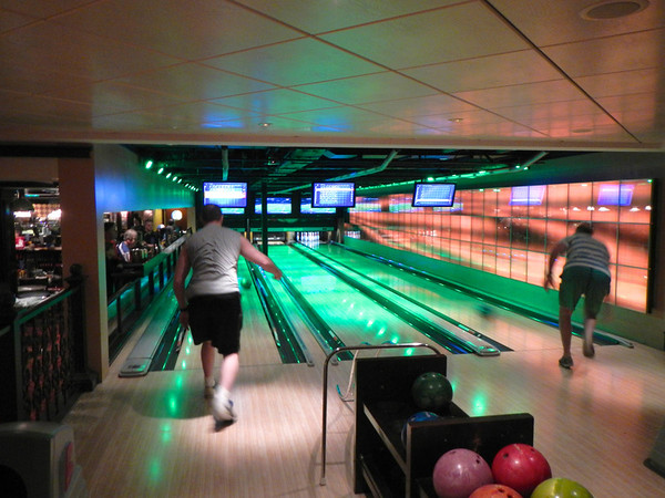 One of TWO bowling alleys on board