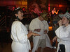 The Bathrobe Party:  Cathy, Will, and Traci