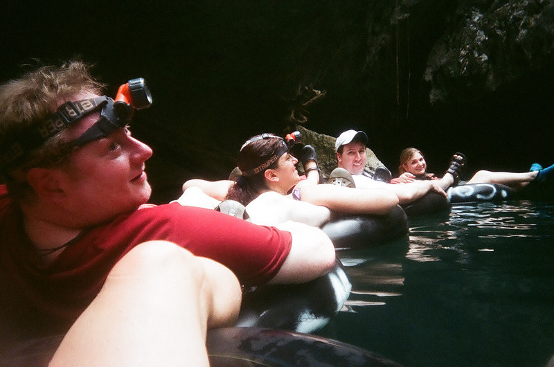 Dave, Cathy, Will, and Traci, cave tubing in Belize