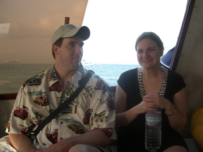Will and Traci on the tender in Belize