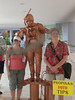 "Sheila and Cathy with a ""living statue"" in Cozumel"