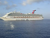 The Carnival Valor, as seen from the tender in Grand Cayman