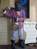 A pirate statue advertising Big Black Dick Rum