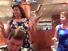 "Sheila and Cathy dance with the waitstaff to ""Hey Baby"" . . . keep an eye out for the dancing newlyweds, too!"