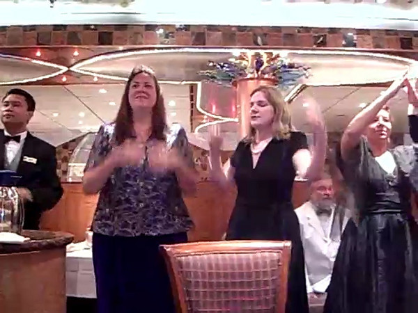 "Cathy, Traci, and Sheila dance to ""YMCA"" with the waitstaff (Part 2)"