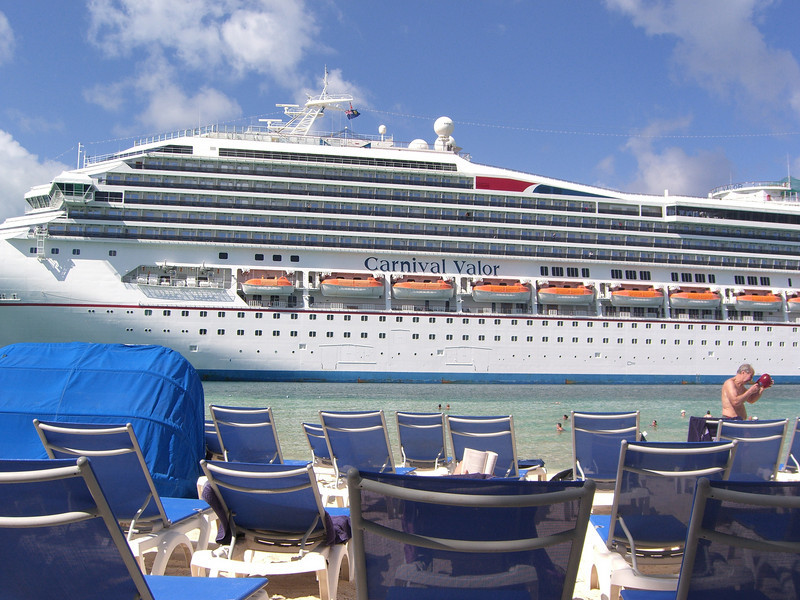 The Carnival Legend as seen from the beach at the Turks and Caicos port