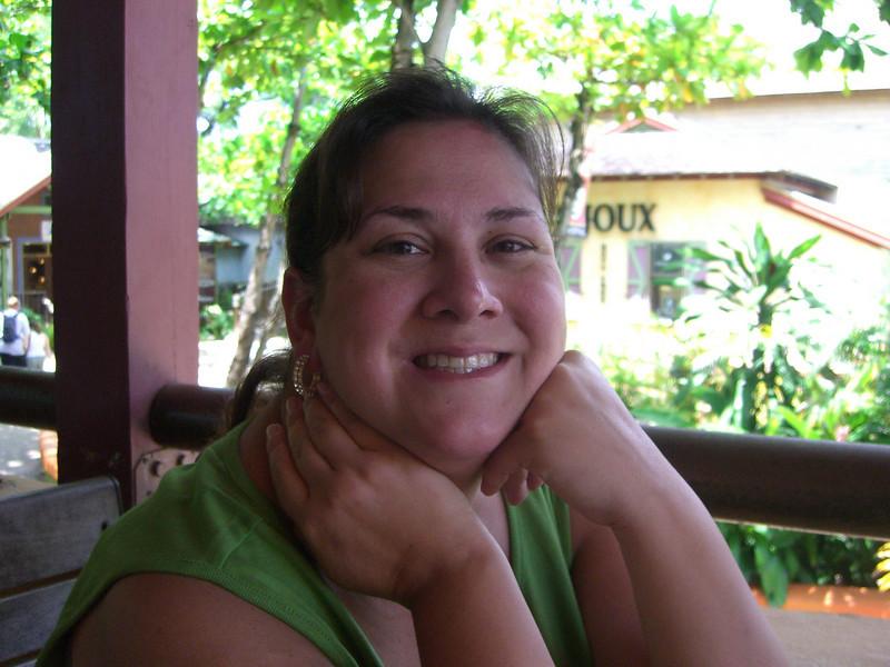 Cathy in a shopping village in Ocho Rios, Jamaica