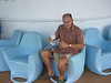Walter checks out a funky rocking chair on board the Carnival Legend