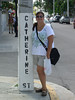 Cathy at a Catherine St. signpost in Key West