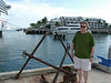 Dave with an anchor at the cruise ship dock in Key West