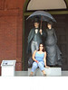Suzanne with a statue in Key West