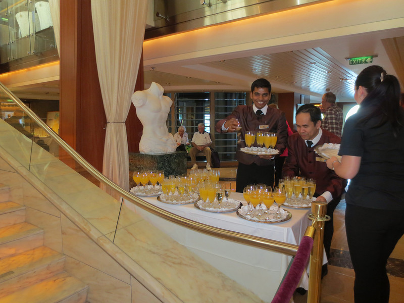 Celebrity Infinity, Champagne welcome aboard