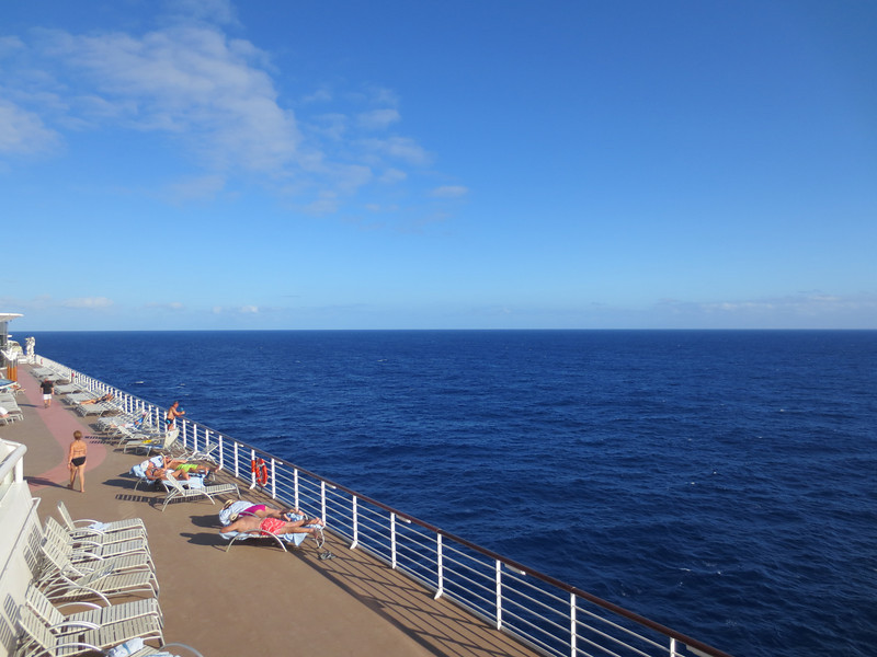 Celebrity Infinity in the Mid Atlantic, view from the walking deck.