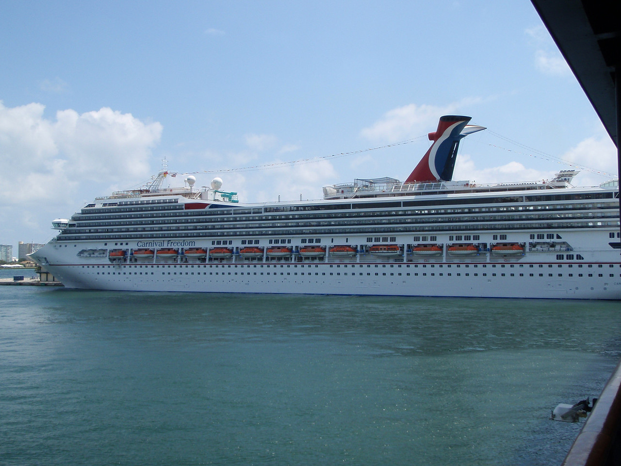 Carnival Freedom was docked in front of us.