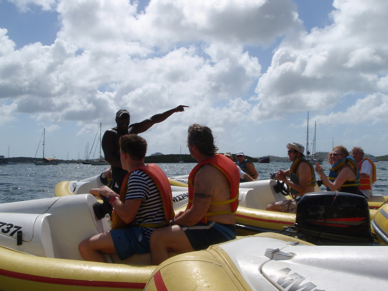 Our guide provides some final instruction after we re-enter Simpson Bay Lagoon.