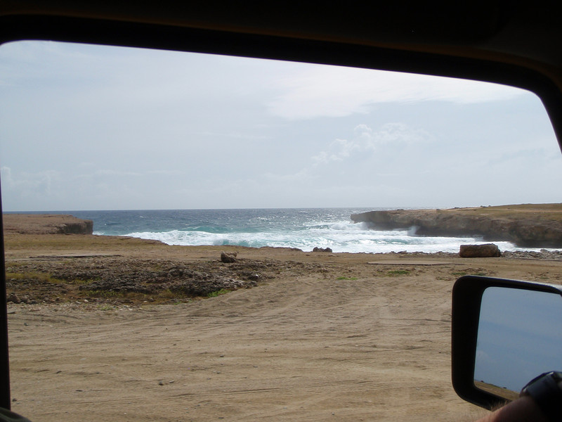 Next we drive along the coast.  We're on the windward side and the seas are pretty rough.