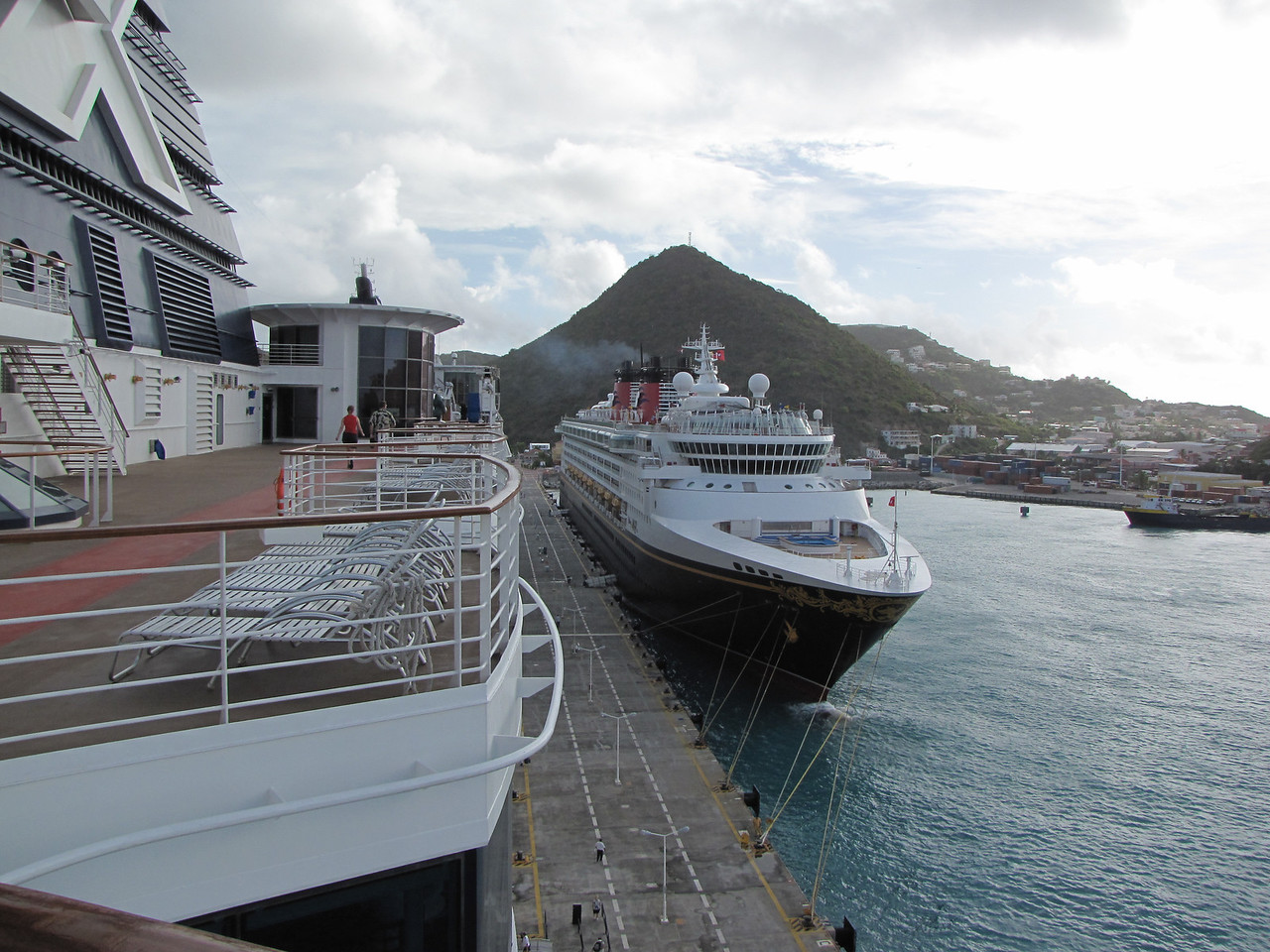 Our normal routine upon arriving at a new port is for me to go out to the upper decks to take a few photos while Sheila is getting ready for the day.  The Disney Magic had arrived in Philipsburg before us.
