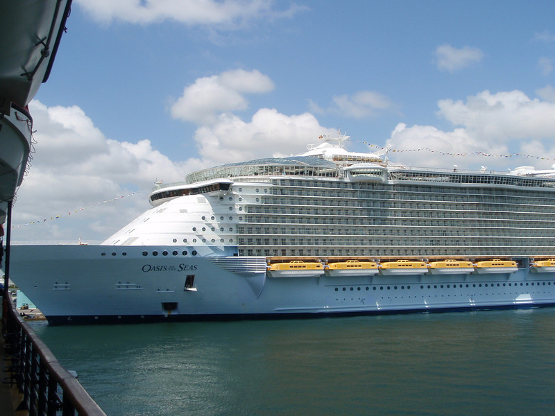 We were docked between Royal Caribbean's Oasis of the Seas.  She's the largest cruise ship in the world.  She's so big....