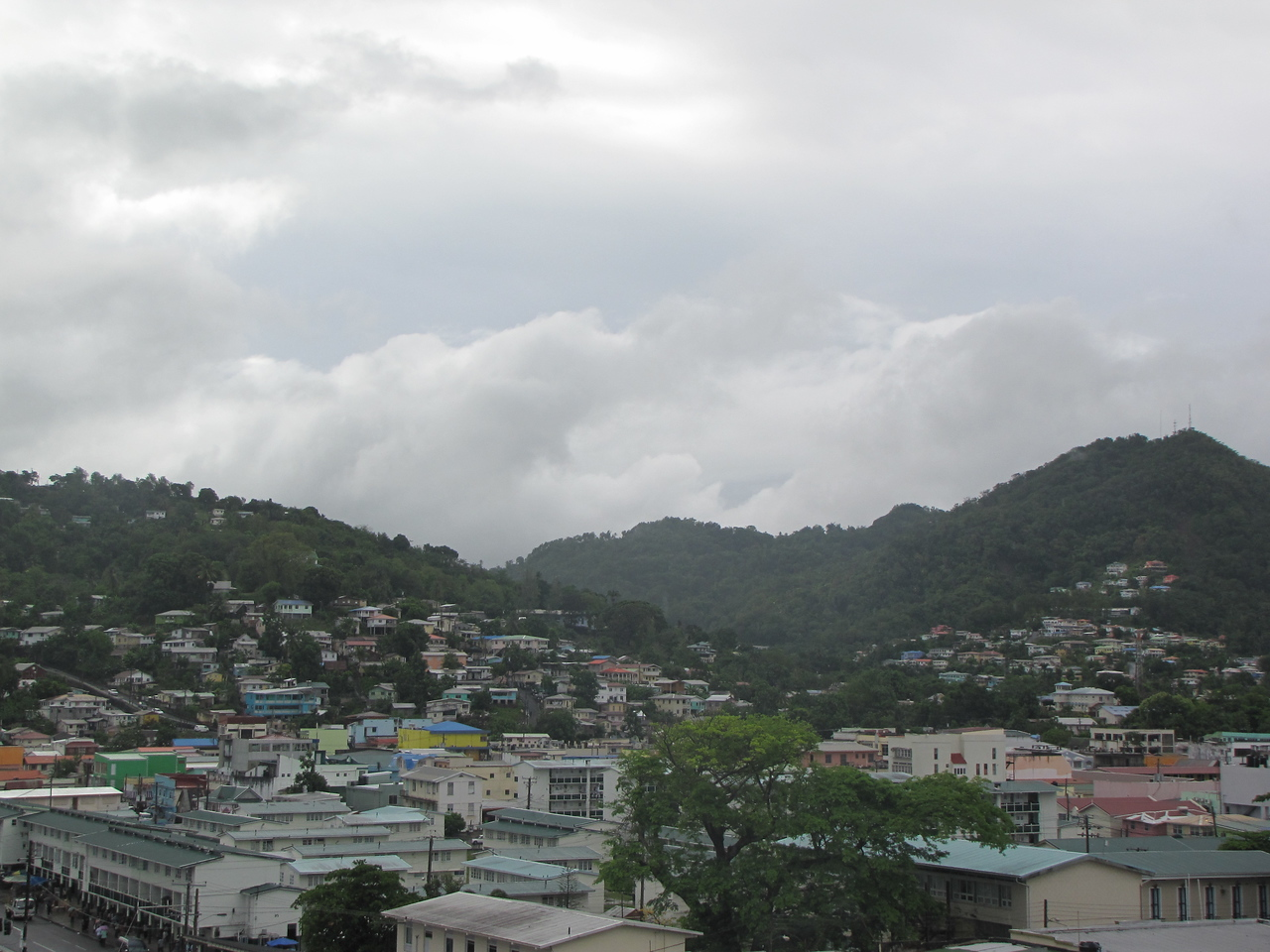 We arrive at Castries, St. Lucia on Thursday morning to the sight of more rain clouds.