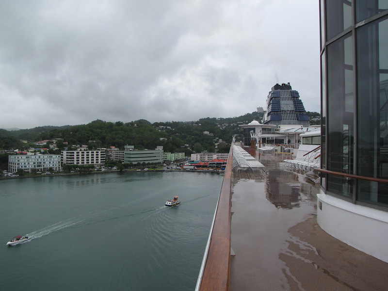 The wet decks are evidence of the rain that has been falling off and on all morning.