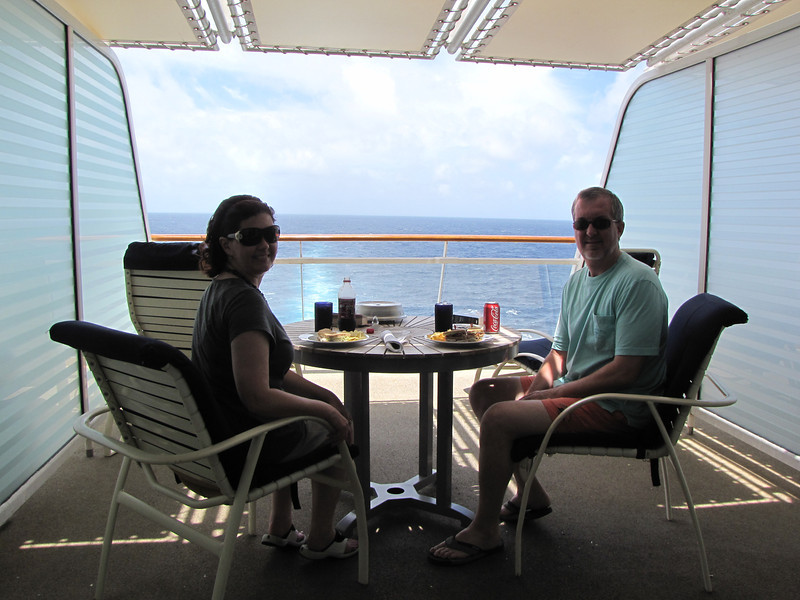 We enjoy a day at sea as we steam from Grenada to Aruba.  We spend much of the day relaxing on our balcony.  Here we are enjoying lunch.