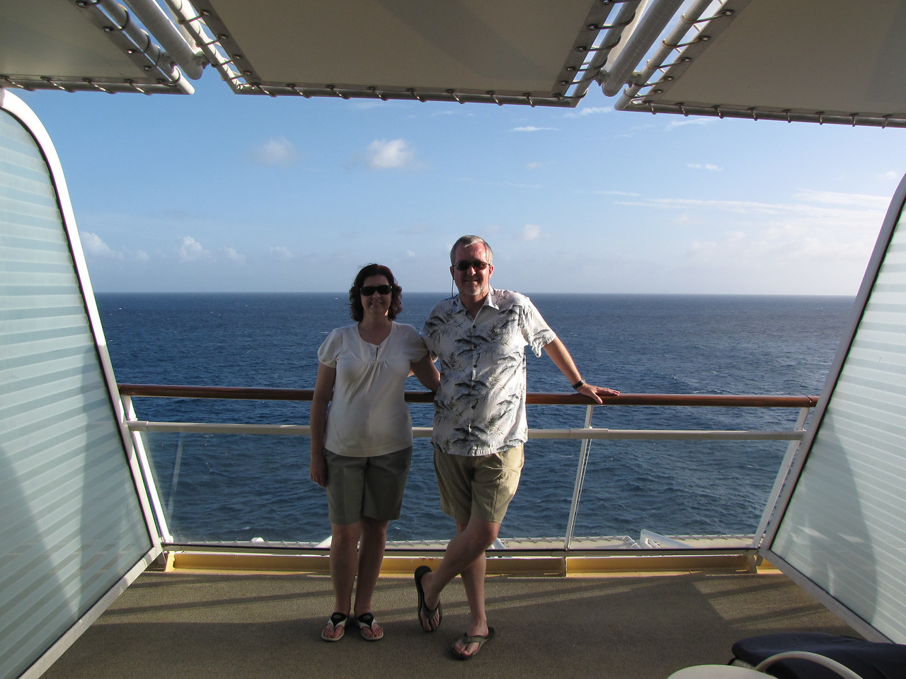 Enjoying our spacious balcony while we wait for sail-away.