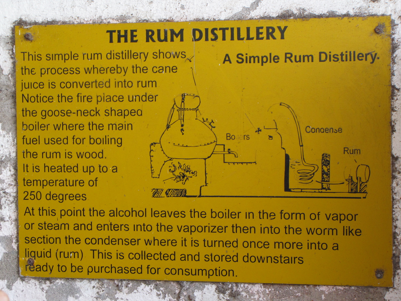 Plaque at the River Antoine Rum Distillery.
