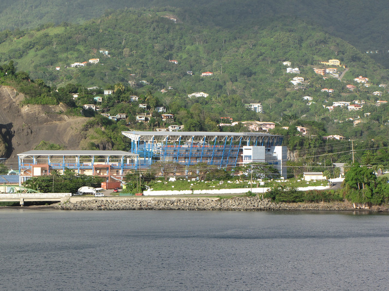 As we sail away we can see the Grenada National Stadium.