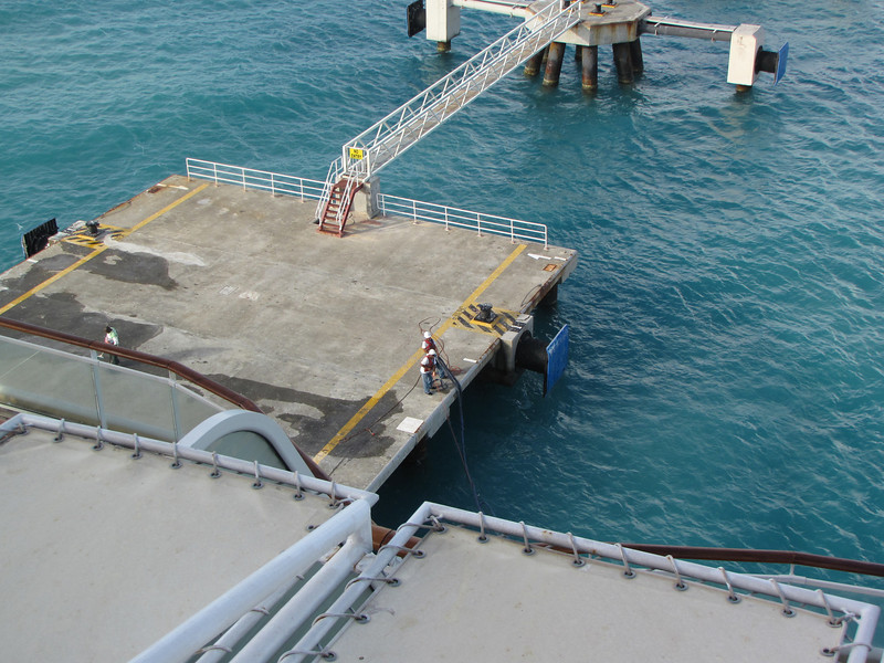 We arrive at Philipsburg, St. Maarten on Tuesday April 26.  Dock workers are hauling up Constellation's lines.