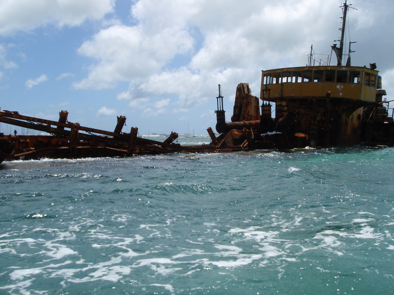 We cruised by this wreck in Simpson Bay Lagoon.