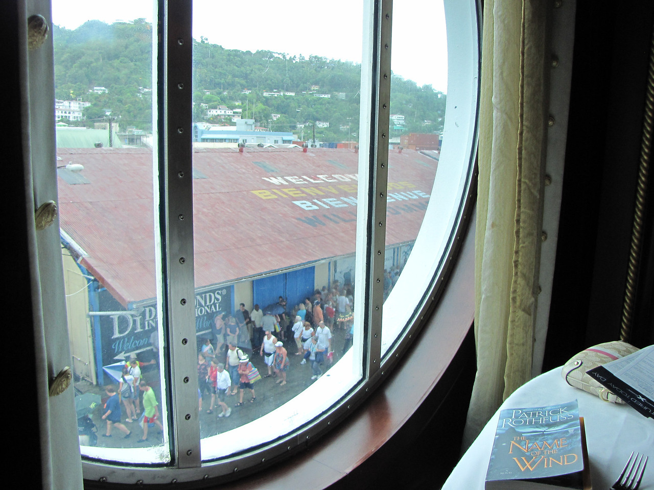 We had a table next to a window where we could watch passengers gathering for their excursions.